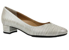 J. Renee Dove Grey Metallic lizard Print Pump. Wearable and trend right low block heel pump with sweetheart top line, wrapped in lizard print for the perfect addition to your modern classic wardrobe. Perfect for desk to dinner or anything in between. The Bambalina features a memory foam insole for added cushion and comfort. 1.25 inch heel