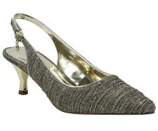The J. Renee Battista Taupe Gold Glitter Dress Sandal is on a gorgeous metallic heel giving it a classic silhouette. Wear this mid heel pointy toe sling for any day to evening occasion. Update your classic luncheon to wedding style with the pleated dance glitter fabric. The Battista features a memory foam insole for added cushion and comfort. Constructed on a two inch heel this style makes a statement for any occasion with J. Renee from Vimi Shoes at Moose Creek Mall