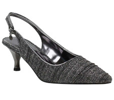 The J. Renee Battista Pewter Glitter Dress Sandal is on a gorgeous metallic heel giving it a classic silhouette. Wear this mid heel pointy toe sling for any day to evening occasion. Update your classic luncheon to wedding style with the pleated dance glitter fabric. The Battista features a memory foam insole for added cushion and comfort. Constructed on a two inch heel this style makes a statement for any occasion with J. Renee from Vimi Shoes in Moose Creek Mall