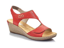 Rieker 62468-33 is a red wedge sandal with adjustable velcro closure. Can be worn for dress or casual wear. Perfect for all semi-formal occasions or just wear with jeans or capri. All Rieker shoes can be purchased at Vimi Shoes in Moose Creek Mall