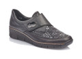 Rieker 537C0-00 Womens Black Leather Casual. Buy the 537C0-00 Ladies Black leather Hook and Loop (velcro) closure casual shoes. Makes for easy on and off but still casual or dressy depending on what you wear.