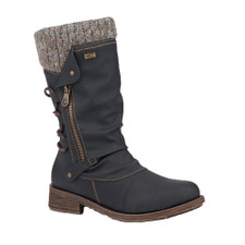 Women's Remonte D8070-01 tall boot has a lambs wool insole to keep your feet warm on cold days for the autumn and winter season. To remove dirt, wipe gently with a dry cloth to remove any dried-on dirt and dust.