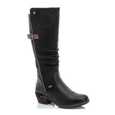 Rieker 93654-00 long boots are a classic equestrian riding boot style. Made of RiekerTex waterproof uppers and contrasting calf panels. Features two zippers. One on the outside leg for added styling and looks and one on the inside leg for easy on off entry. Linings are designed for warmth and comfort on cold fall and winter days.