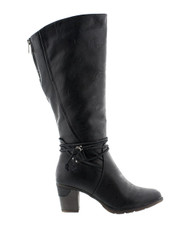 """A tall boot that combines fashion and function, fleece lined for winter wear but still with dress style. Lining: fleece winter lined Zip closure 2.5"""" block heel adjustable width side zipper decorative rope detailing"""