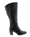"A tall boot that combines fashion and function, fleece lined for winter wear but still with dress style. Lining: fleece winter lined Zip closure 2.5"" block heel adjustable width side zipper decorative rope detailing"