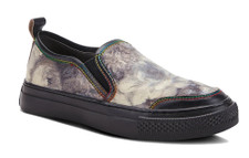 Colourful casual slip-on sneaker featuring low profile uppers in a delightfully printed garden of pleasure with rainbow stitched leather trim, double stretch inserts and back pull-on leather tab. Architectural textured 3-D rubber front toe flexible outsole with super padded removable insole.