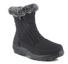 Spring Step Persenia Boot is a cozy and comfortable waterproof nylon booty, beautiful faux fur collar and shaft stitching detail with fashionable dual zippers, very flexible construction with direct injected light weight two color polyurethane outsole.