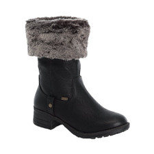 The 96854-00 by Rieker is a mid-calf soft warm fleece lined winter boot with an inner zipper. Plush faux fur cuff. Durable rubber type sole and a faux suede upper colar which can be rolled up. Waterproof by RiekerTex