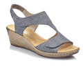 Rieker 62468-12 is a blue wedge sandal with adjustable velcro closure. Can be worn for dress or casual wear. Perfect for all semi-formal occasions or just wear with jeans or capri. All Rieker shoes can be purchased at Vimi Shoes in Moose Creek Mall