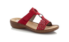 Rieker 608A7-33 sandals with a platted decorative strip across the top, Velcro fastening adjustable strap to ensure a perfect fit.