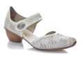 The Rieker 43767-80 is a women's low heel semi casual shoes constructed with lighweight material, shock absorbent and has plenty of toe room. An adjustable verclo strap over the instep allow for easy ajustability and easy on off for a great fit. This pretty shoes looks great with all variety of outfits
