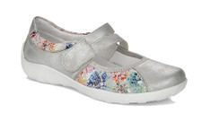 The 3510-92 is a pale grey shoes with a flowered pattern by Remonte. Rieker Antistress shoes are lightweight, shock absorbent and have plenty of toe room. Velcro strap at the instep for an easy on and off Insole can be removed to accommodate your custom orthotic or aired out for refreshing. Purchase at Vimi Shoe in Moose Creek Mall.