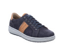Josef Seibel David 01 Men's Indigo trainer style leather laced casual. Uppers and linings all in leather. Rubberized sole for flexibility. Full fitting wider width. Purchase at Vimi Shoes in the Moose Creek Mall.
