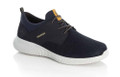 The B7471-14 Rieker men's casual has elastic on the instep and material in the shaft area to prevent pressure points making this men's sneaker a miracle of comfort. A sporty look of this slip-on shoe is caused by the outsole as well as sthe blue mesh, high quality uppers. The yellow accents give a masculine finishing touch.