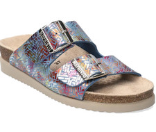 The Mephisto Hester Sea Blue Chevron sandal is a shimmering embossed print eye-catching style is a good everyday sandal. Featuing a adjustable straps and a cork footbed is also combined with a signature Soft-Air and Air-Relax technology. Meaning endless, all day arch supports and anti-fatigue comfort. Made in France.