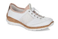 Rieker N42G8-80 White Sneakers with Speed Lacing. These sneakers are lightweight, shock absorbing, breathable, are made from leather and have soft synthetic lining making them very comfortable. These sneakers have speed lacing making them easy to secure and can be tightened to your desired width. They also have a high quality memory foam insole which is very comfortable and adapts to your feet.