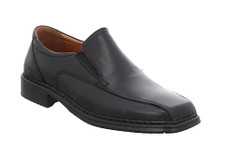 Josef Seibel Montreal black leather men's slip on shoe. Leather upper with natural leather lining, removeable leather inner sole and PU-bonded sole. Flexible and lightweight for added comfort. Extra Wide Width. (3E)