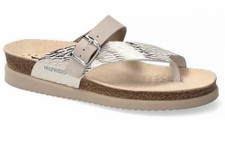 With the Mephisto Helen Sand Zebra Leather, you'll feel like you're walking on air with the Helen thong sandal. Mephisto footwear is handcrafted by master shoemakers to ensure the highest quality results in every pair. Unique SOFT-AIR technology integrated into the cork insert guarantees fatigue-free walking. AIR-RELAX technology provides arch support in the contoured supportive footbed.Buckled leather strap allows a great fit. High-quality leather uppers have metallic colors for a fashionable flair. Flexible midsole reduces shock and minimizes pressure on your back, hips, and knees. Natural suede lining wicks away moisture to ensure your feet stay healthy and dry. Rubber outsole provides superior durability. Made in Porturgal.