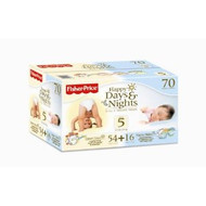 Fisher Price Happy Days & Nights Diapers Sz 5 70ct
