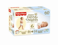 Fisher-Price Happy Days & Happy Nights Baby Diapers Value Pack, Size 6, 60 Count