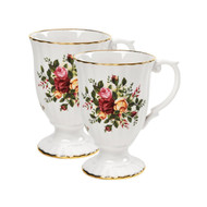 Royal Albert Old Country Roses 5-1/4-inch Fluted Mugs, Set of 2