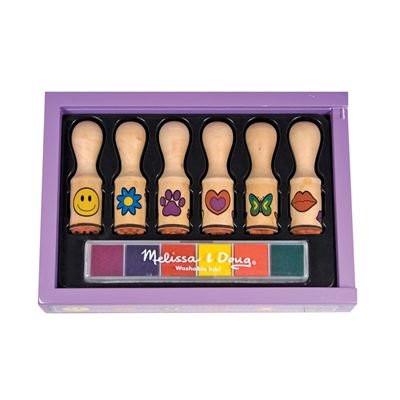 Melissa Doug Deluxe Wooden Happy Handle Stamp Set