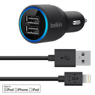 Belkin 2-port Car Charger with Lightning to USB Cable for Iphone 5 / 5s, Ipod Touch, Ipod Nano, Ipad and Ipad Mini, 2.1 AMP (Black)