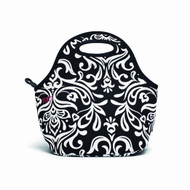 BUILT Neoprene Gourmet Getaway Lunch Tote, Damask Black and White
