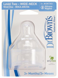 Dr. Brown's 2 Pack Natural Flow Level 2 Wide Neck Nipple