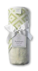 Swaddle Designs Hooded Towel - Very Lt Kiwi w/Pastel Kiwi Mod Squares