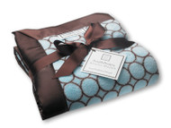 Swaddle Designs STROLLER BLANKET FUZZY BLUE WITH BROWN MOD CIRCLES