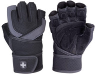 Harbinger 1250 Training Grip WristWrap Glove,Black/Grey Small