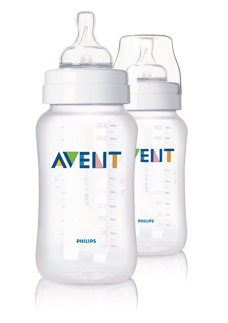 Philips AVENT 11 Ounce BPA Free Classic Polypropylene Bottles, 2-Pack