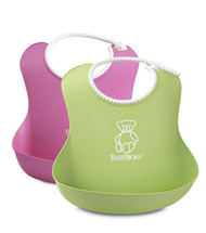 BABYBJORN Soft Bib, Pink and Green, 2-Count