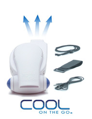 Cool On The Go - Versatile Hands-Free Personal Cooling Device. White / Blue