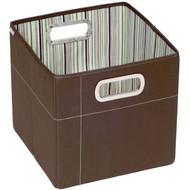 """JJ Cole Collections Storage Box, Cocoa Stripe, 11"""""""
