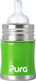Pura Kiki Stainless Infant Bottle Stainless Steel with Natural Vent Nipple, 5 Ounce, Spring Green, 0-6 Months+