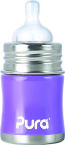 Pura Kiki Stainless Infant Bottle Stainless Steel with Natural Vent Nipple, 5 Ounce, Lavender, 0-6 Months+