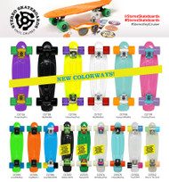 Stereo Vinyl Cruiser Plastic Complete Skateboard Yellow/Raw/Purple