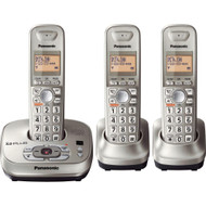 Panasonic KX-TG4023N DECT 6.0 PLUS Expandable Digital Cordless Phone with Answering System, Champagne Gold, 3 Handsets