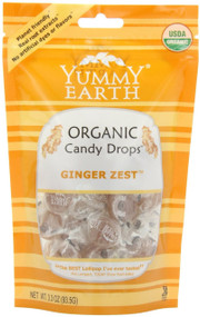 YumEarth Organic Ginger Zest Drops, 3.3 Ounce Pouches (Pack of 6)
