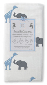 SwaddleDesigns Marquisette Swaddling Blanket, Safari Fun, Blue