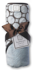 SwaddleDesigns Terry Velour Hooded Towel, Brown Mod Circles, Pastel Blue