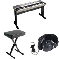 Yamaha YPG-535 88-key Portable Grand Graded-Action USB Keyboard with Matching Stand and Sustain Pedal + X-Style Portable Keyboard Bench and Yamaha Stereo Headphones