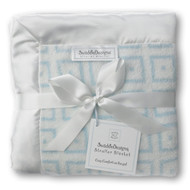 Swaddle Designs Stroller Blanket FUZZY VERY LT BLUE WITH PASTEI BLUE MOD SQUARES