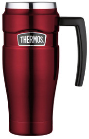 Thermos 16 Ounce Stainless Steel King Travel Mug with Handle, Cranberry