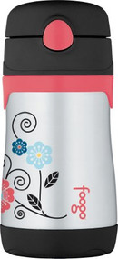 Thermos FOOGO Phases Stainless Steel Straw Bottle, Poppy Patch, 10 Ounce