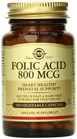 Solgar - Folic Acid 800 mcg Tablets - 100 count