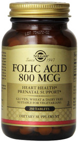 Solgar - Folic Acid 800 mcg Tablets 250