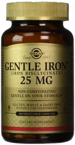 Solgar Gentle Iron 25 MG (IRON BISGLYCINATE) 180 Vegetable Capsules